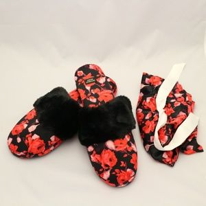 Victoria's Secret Satin Slippers, Black Rose